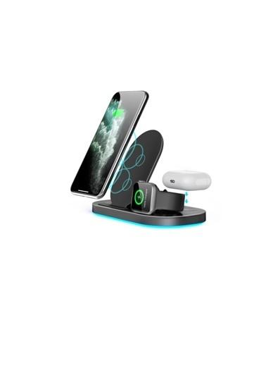 marstec MARSTEC  Iphone Samsung 3 In 1 Kablosuz Hızlı Şarj  Siyah Dock Istasyonu Standı Siyah